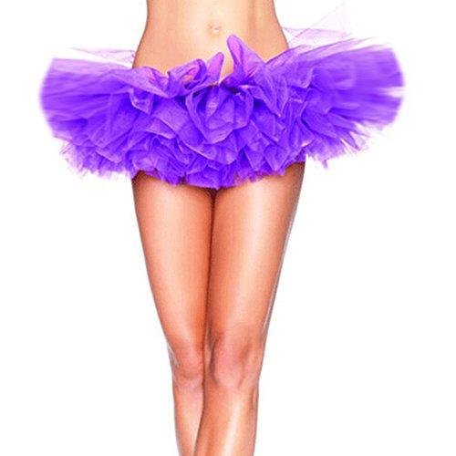 jaune organza couleur de Violet R adulte jupe couche tutu pour dentelle Mini la de de Jupon TOOGOO ZqwX1H