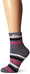 Life is good Women's Low Snuggle Stripes Crew Socks, Smoky Gray, One Size