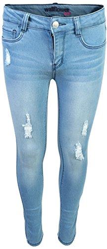 - WallFlower Girl's Skinny Soft Stretch Fashion Cut Denim Jeans, Light Wash w/Rips, Size 8