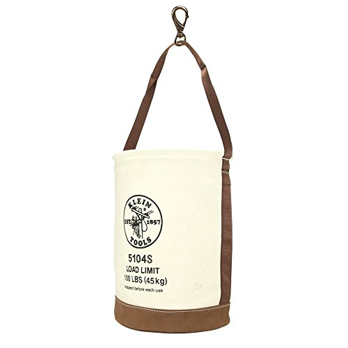 (Tool Bucket, No. 4 Canvas and Leather Bottom, with Swivel Snap Hook Klein Tools 5104S)