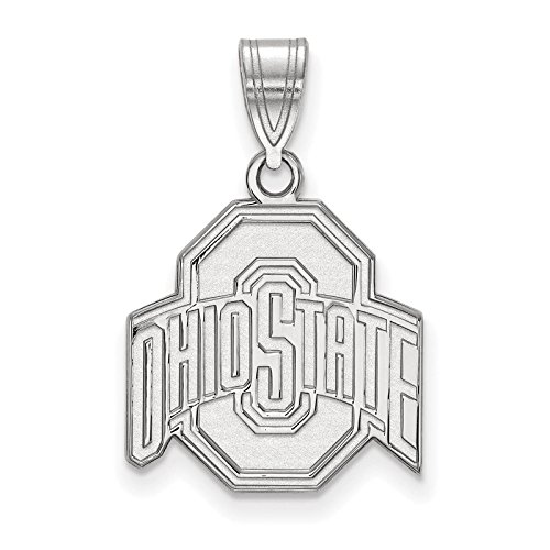 925 Sterling Silver Rhodium-plated Laser-cut Ohio State University Medium Pendant