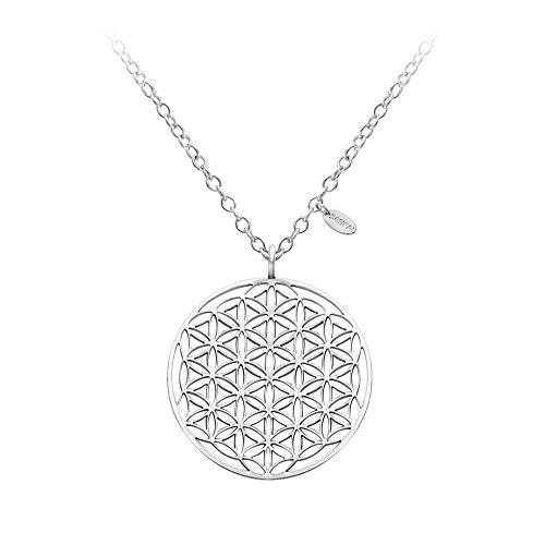 SENFAI Stainless Steel Circle Engrave Flower Pendant Necklace (Silver)