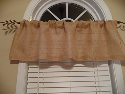 Pocket Rod Lodge Drapes (Burlap Country Rustic, French Country Curtain Valance,Window Treatment)