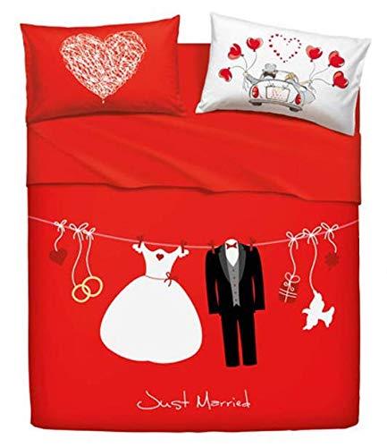 Misure Lenzuola Matrimoniali Bassetti.Bassetti Set Lenzuola Matrimoniali Love Is A Couple Amazon It