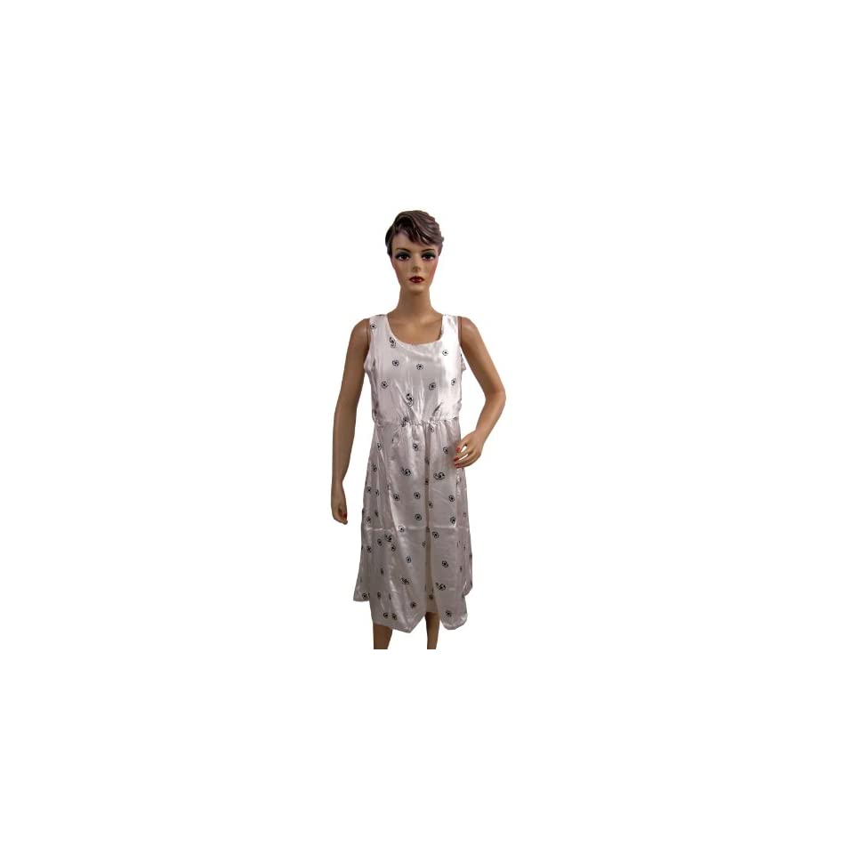 Hippie Boho Dress Satin Floral Print White Sleeveless Dress for Women