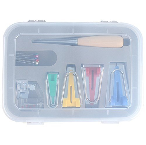 ANYQOO 16 pcs Fabric Bias Set Tape Maker Kit with 4 Different Sizes and 12 Tools for Sewing /& Quilting Awl