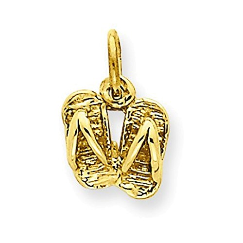 14k Solid Polished Sandals Charm (Gold Sandal Italian Charm)