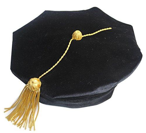 Fristaden Graduation Doctoral Tam, 8-Sided, Black Velvet Band, Gold Tassel, Sizes XS-XL by Fristaden Graduation