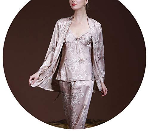 3 Pcs Robe Pajama Pants Sets 2018 Ladies Sleep Lounge Dragon Print Night Shirt Female Pajama Sets Tz013,Light Tan,M (Womens Pants Polypro)