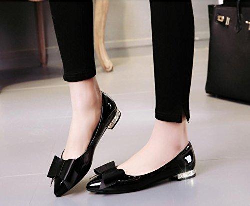 KHSKX-Negro 2.5Cm Fondo Plano Solo Zapatos Femeninos Pajarita Taladro De Agua Pintado De Cuero Zapatos De Mujer Casual 36 36