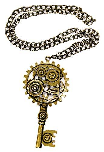 Forum Novelties Unisex-Adults Steam.Copper Key/Gear Necklace, Brown, Standard