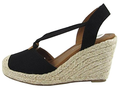 City Classified Gigi Women's Cap Toe Espadrille Wedge Sandal,Black Linen,7.5 (Classified Womens Shoes Wedge)