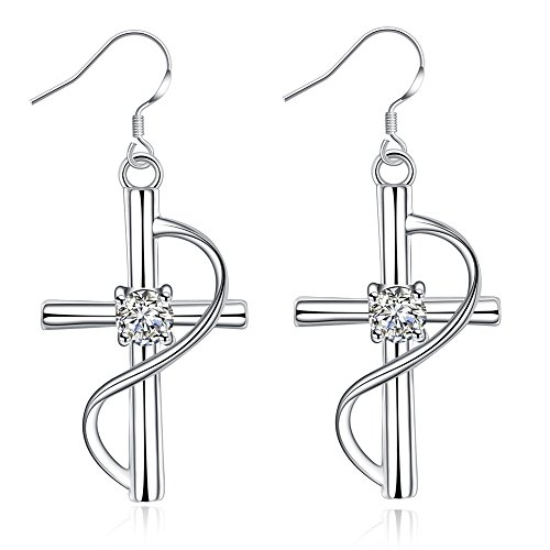 gling Charm Cross Earrings With Cubic Zirconium In the Center, Music Line Around (Beautiful Crystal Cross Earrings)