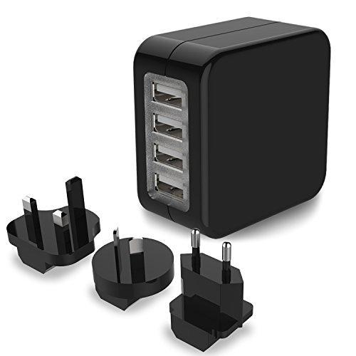Travel Adapter, MoMoCity 4-Port USB Wall Charger International Worldwide electricity Adapter trave Plug using US UK EU AU Plugs for iPhone iPad Samsung Smartphone Camera - Black