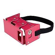 En cuir PU fuleadture VR Casque virtuel 3D DIY Kit de vidéo 3D en carton Verres gmaes Google avec commande magnétique pour iPhone Samsung et autres smartphones 10,2–15,2cm