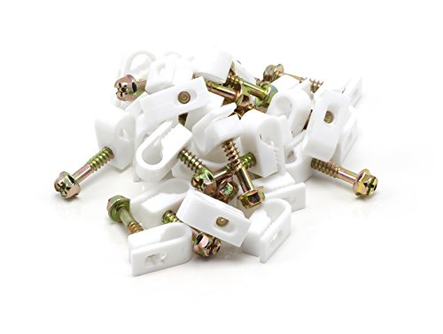 S/t Screw (Single Coaxial Cable Clips, Cat6, Electrical Wire Cable Clip, 1/4 in (6 mm) Screw Clip and Fastener, White (100 pieces per bag))