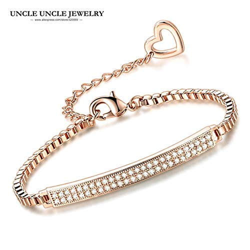 Elegant Rose Gold Color Clear Crystal | Micro Studded Simple Design Bracelet Box Chain (52 Pcs) (Rose Gold Plated) ()