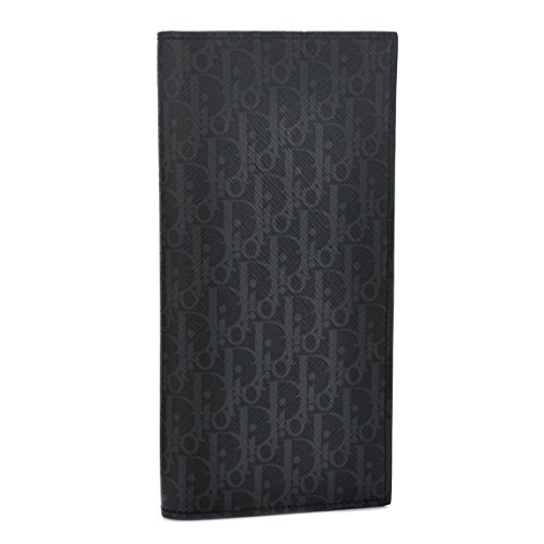 DIOR HOMME(ディオールオム) 財布 メンズ PVCコーティングキャンバス 2つ折り長財布 ダークグレー×ブラック 2DEBC002-XIS-02G [並行輸入品] B01K9M4FLI