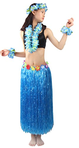 5pcs/ set Women's Hawaiian Luau 80cm blue grass hula skirt