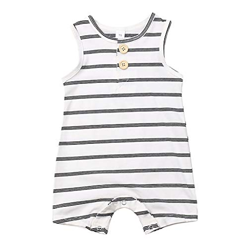 Toddler Sleeveless Jumpsuit,Fineser Newborn Infant Baby Striped Jumpsuits Playsuit Overalls Clothing One Piece Outfits (White, 12-18 Months(90)) ()
