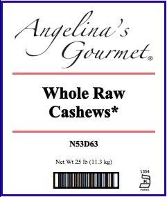 Whole Raw Cashews, 25 Lb Bag