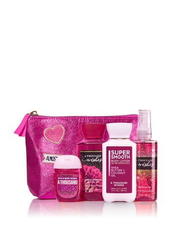 Bath and Body Works A THOUSAND WISHES Perfect In Pink Gift Set. Includes Travel Size Body Wash 3 Oz., Super Smooth Body Lotion 3 Oz., Body Mist 3 Oz., Pocketbac - Wish Pink