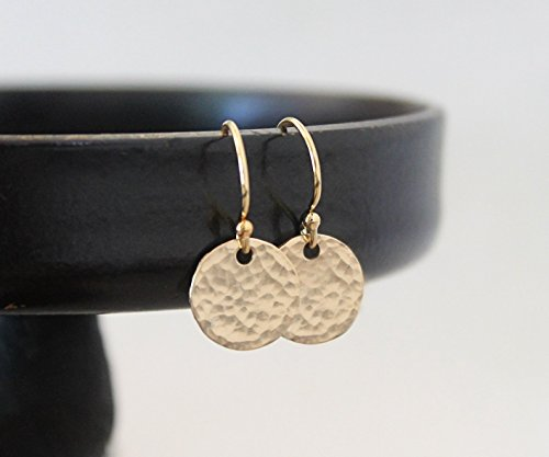 Tiny Hammered 14k Gold Filled Tiny Disc Earrings - Hammered Shiny Finish, Simple Everyday (Circle Disc Earrings)