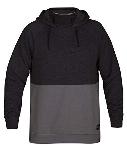 Hurley Men's Crone Marled Textured Pullover Hoodie, Black Heather, -