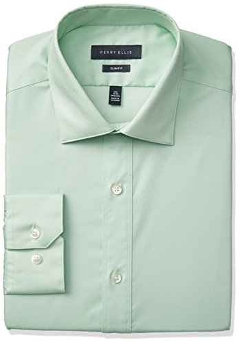 Perry Ellis Men's Slim Fit Solid Non-Iron Dress Shirt, Green End/End, 15.5