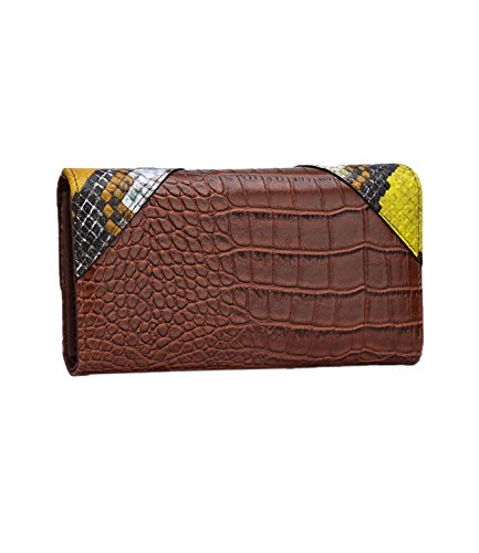 Women's Leather Brown Wallet Purse classic PU Card DOBRING fashion Top Multi Clutch Holder qwaOUw7dx