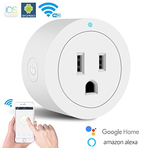 WiFi Smart Plug,Mini Wi-Fi Enabled Smart Outlet Socket Works with Amazon Alexa Echo Alexa and Google Assistant,No Hub Required,Compact Remote Control Wireless Outlet Smart Switch with Timing Function
