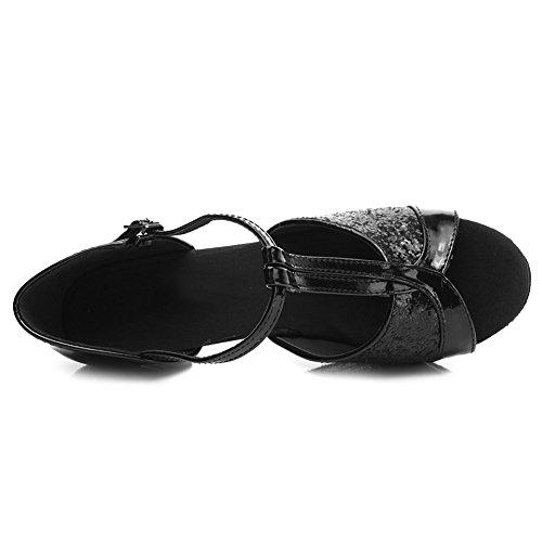 Satin 259 Latin D7 Ballsaal HROYL Tanzschuhe Schwarz Modell Schuhe 5cm Dance Damen wqzXAx6Fg