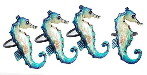 Coral Reef Seahorse Pearlized Napkin Rings - Set of 4 by CFF