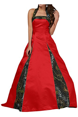 MILANO BRIDE Unique Ball Gown Halter Camo Wedding Party Dress Prom Gown For - Milano Dress Red