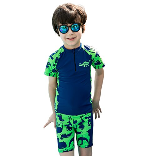Kids Swimsuit,Toddler Two Piece Swimwear For Liitle Boys, Short Sleeves UV Sun Protective Thermal Wetsuit 1.5mm Neoprene Suit 2-12 Years (Green-Crocodile, M(height:31