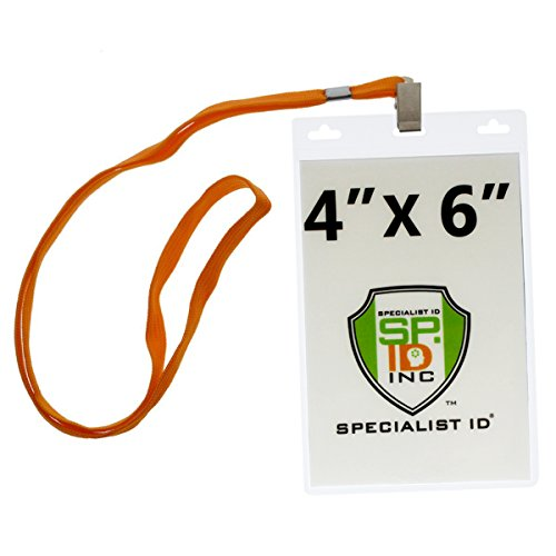 10 Pack - 4 X 6 Inch Extra Large Badge & Credential Holders with Lanyards by Specialist ID (Orange)