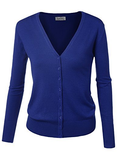 BIADANI Women Button Down Long Sleeve Soft V-Neck Cardigan Sweater Royal Blue Large ()