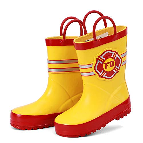 ALEADER Boys Girls Waterproof Rubber Rain Boot with Easy Pull On Handles Yellow/Fire Mark 9/10 M US Toddler