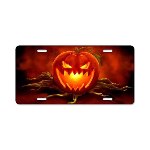 DREES Holiday Halloween Jack-o-Lantern Candle Light Vanity Front License Plate Tag Printed Full Color Decorate Your Car 9 × 21
