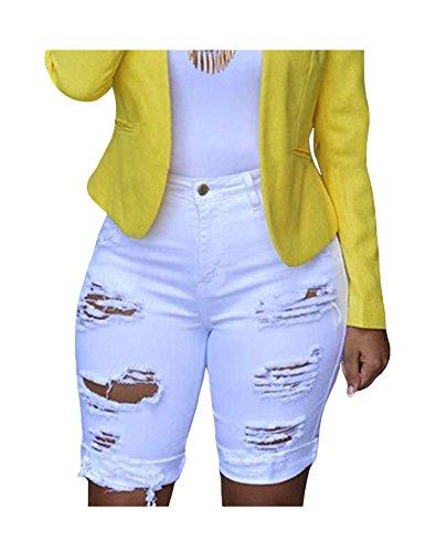 En Letuwj Blanc Femme Shorts denim CpwaqBxH5w
