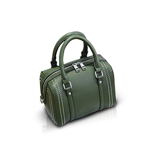 NICOLE&DORIS Handbag Rivet Crossbody Totes Satchel Shoulder Boston Bag for Women Soft PU Army Green (Bag Boston Messenger)