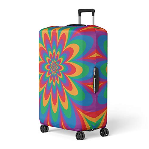 - Pinbeam Luggage Cover Infinite Flower Op in Primary and Secondary Colors Travel Suitcase Cover Protector Baggage Case Fits 22-24 inches