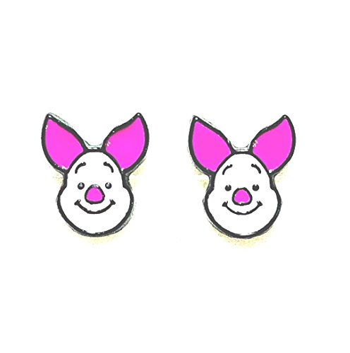 - Disney Inspired Winnie The Pooh Piglet Character Head Metal Enamel Stud Earrings Great Gift