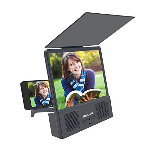 Jteman 5-in-1 Bluetooth Spearker 3D HD Mobile Phone Screen Magnifier Amplifier Movie Video Cell Phone Enlarger Screen Phone Projector for All Samrtphones Android and Phone(Black) (Best Screen Mobile Phone)