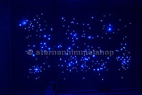 Sternenhimmel LED Komplett-Set Beleuchtung mit Sprühkleber Ultra Star Funk, 240 Lichtfasern 0,75 mm in Glasfaser Optik, Fiber optic,inkl. Projektor, Funkfernbedienung, Memory Funktion, Funkeleffekt und 21 weitere wunderschöne Lichteffekte, 50% blau, 50% weiß, einbaufertig