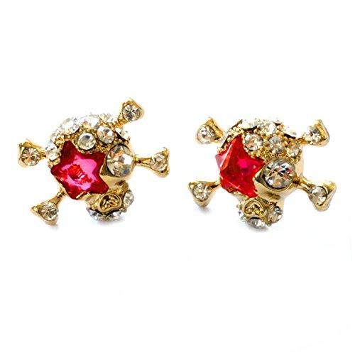 - Bejeweled Gold and Red Skull 'N' Crossbones Post Earrings