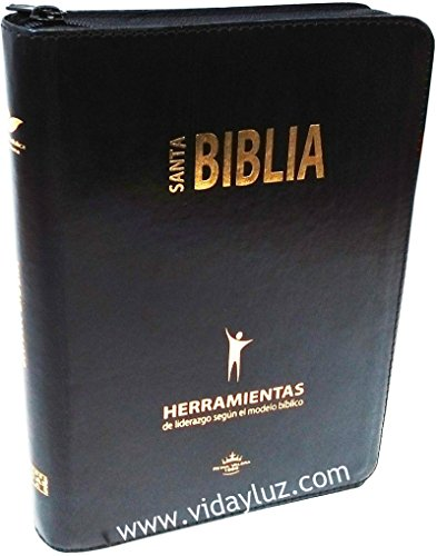 Lider Leather - Santa Biblia Herramientas de Liderazgo Segun El Modelo Biblico Imi Piel Negro con Cierre e Index RVR60