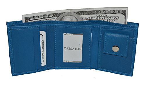 Small compact kids baby trifold Wallet (Blue) ()