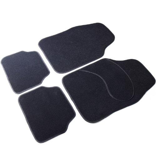 (Adeco 4-Piece Car Vehicle Universal Floor Mats, Black, Premium Carpet Material)