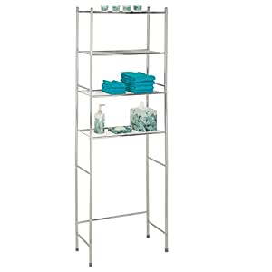 Honey-Can-Do BTH-05281 4-Tier Metal Bathroom Shelf Space Saver, 24.02 x 11.02 x 67.72, Chrome